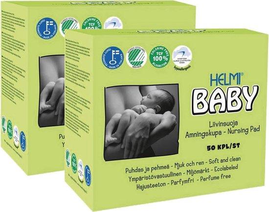 Helmi Baby ecologische zoogcompressen - 2 x 50 stuks - eco - baby - voordeelverpakking