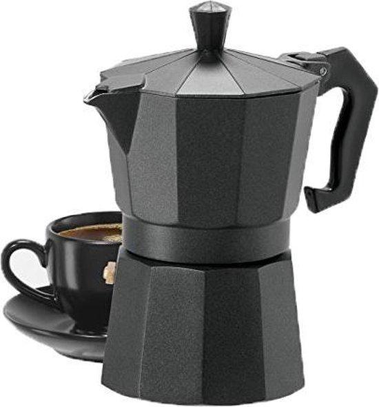 Percolator 3 Kops - Mokkapot Coffee Espresso Maker - Italiaanse Koffiepot Moka Express Pot - 150ml - Zwart
