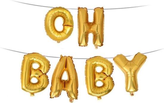 Folie Ballon met Tekst OH BABY | Goud | Bruiloft Accessoires