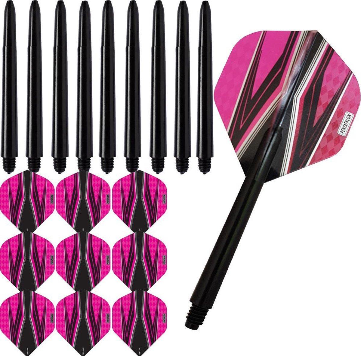 ABC Darts Flights Pentathlon - Dart flights en Medium Dart Shafts - Spitfire zwart roze - 3 sets