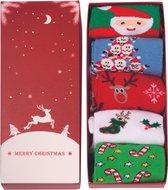 JAP Kerstmis sokken - Giftbox 5 paar - Dames en heren - Kerst versiering - Maat 37 - 44 - Set II