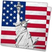 20x Amerika/Verenigde Staten landen vlag thema servetten 33 x 33 cm - Papieren wegwerp servetjes - Amerikaanse/USA vlag/Vrijheidsbeeld feestartikelen - Landen decoratie