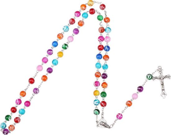 Fako Bijoux® - Rozenkrans Ketting - Multicolour Art - 8mm