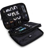 """Elektronica & Kabel Organizer - 3 Lagen - Kabel Reistas - Waterafstotend - Voor 9.7"""" iPad - Harddiscs - Opladers - Gadget Mannen - Zwart"""