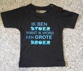 Logostar Aankondiging bekendmaking zwangerschap, tekst. Ik ben stoer want ik word grote broer Baby T-shirt 104