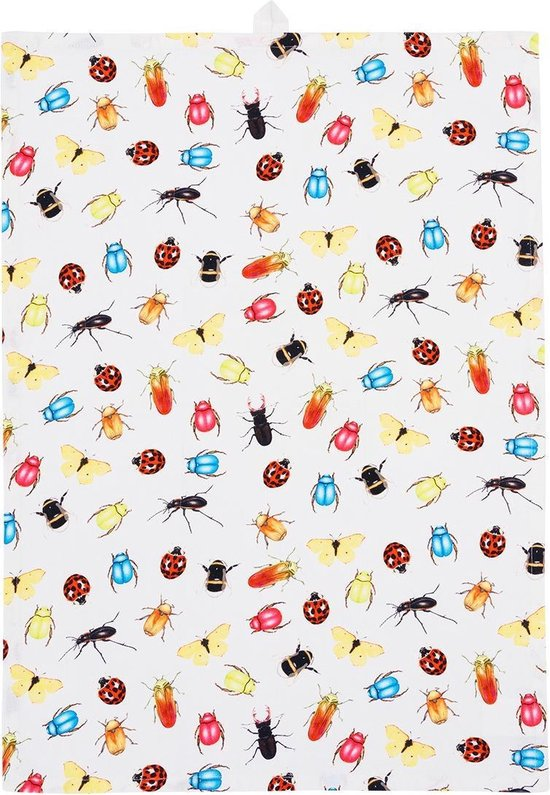 by Sorcia - theedoek Colourfull Insects - 50x70cm - katoen - designed in Holland