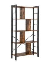 MIRA Boekenkast - Ruimteverdeler met 4 niveaus - Industrieel - Vintage - 74Lx30Bx154,5H - Bruin/zwart