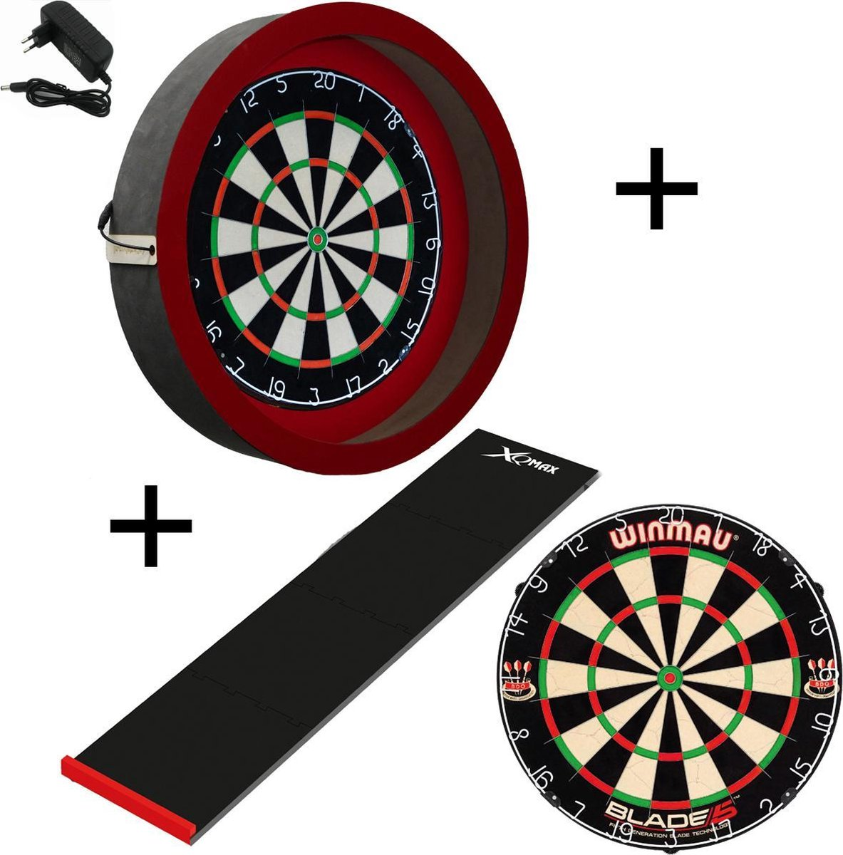 Dragon - Sorpresa PRO - Complete PRO - rood-zwart - winmau blade 5 - xq-dartmat - dartbord verlichting