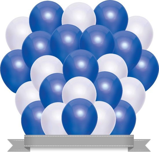 Ballonnen Set Metallic Donkerblauw / Wit (20ST)