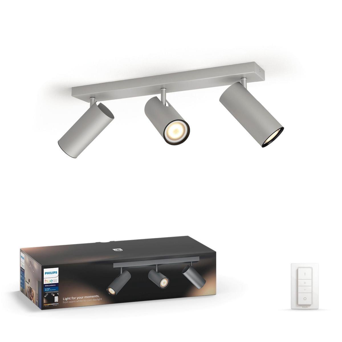 Philips Hue Buratto - White Ambiance - opbouwspot - 3 lichtpunten - aluminium - incl DIM switch