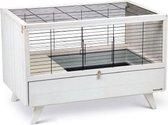 Konijnenkooi voor binnen -  ALBY - Wit - 120 x 64,5 x 72 cm