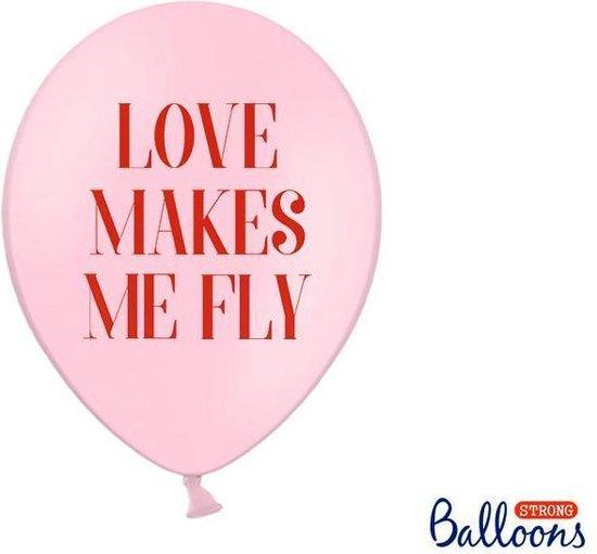 Ballonnen 30 cm, Love makes me fly, Pastel Baby roze (1 zakje met 50 stuks)