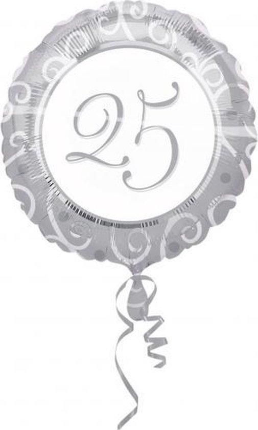 Folie ballon zilver met 25