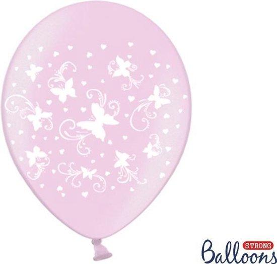 50 Ballonnen in zak vlinders metallic - Roze/wit 30cm