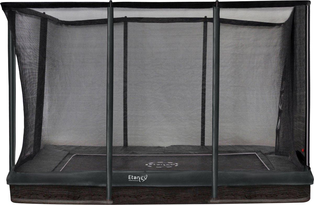 Trampoline Etan Inground Premium Gold Combi set 281 x 201 cm - inc. Veiligheidsnet - Groen - Rechthoekig