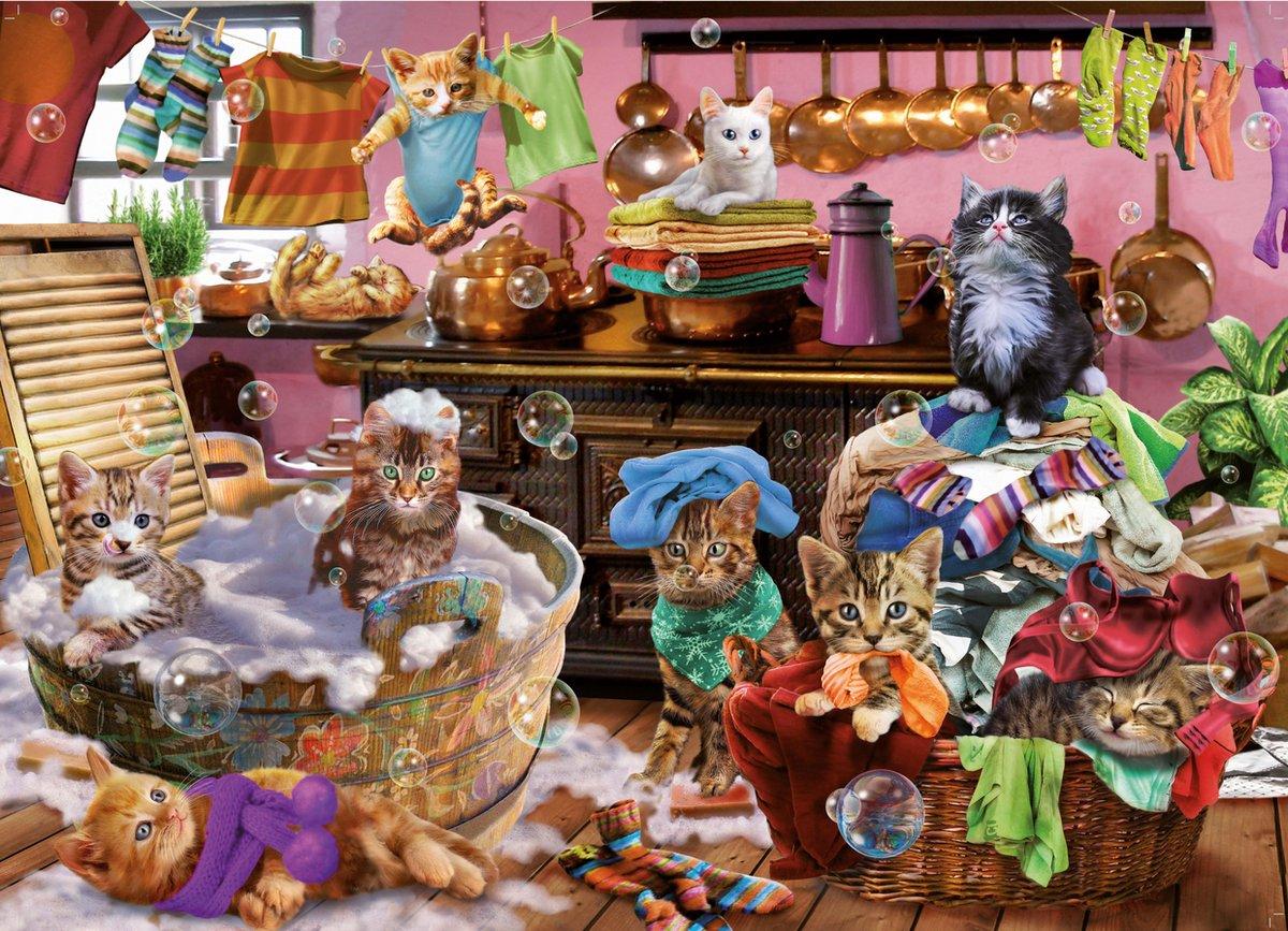 King Puzzel 1000 Stukjes - Poezen in de Keuken