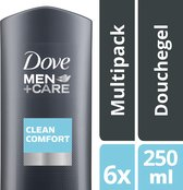Dove Men + Care Clean Comfort - 250 ml - Douche Gel - 6 stuks - Voordeelverpakking