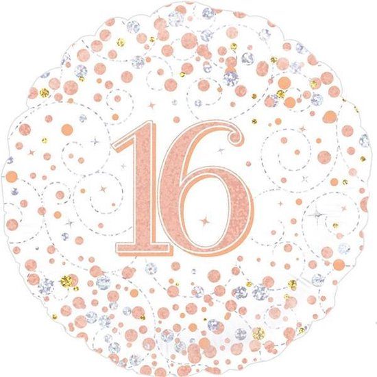 16th Sparkling Fizz Birthday White & Rose Gold Holographic