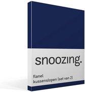 Snoozing - Flanel - Kussenslopen - Set van 2 - 50x70 cm - Navy