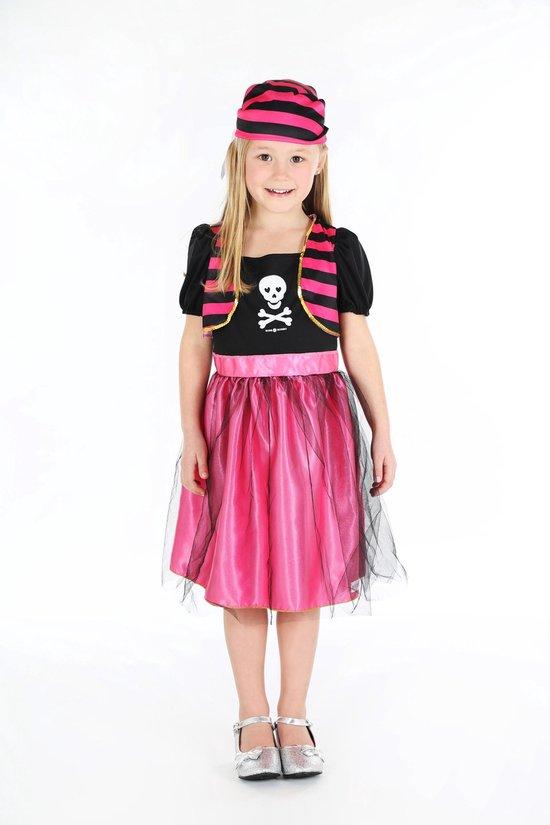 Piraat Angelica jurk + bandana, roze-zwart - maat 5-7 jaar (110/122 cm)