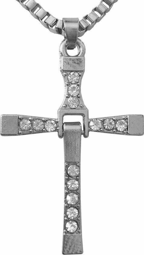 Fako Bijoux® - Ketting - Kruis - Kristal - Classic - Zilverkleurig