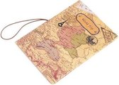 Paspoorthouder met Wereldkaart Opdruk - 14x9,6 cm - Beige