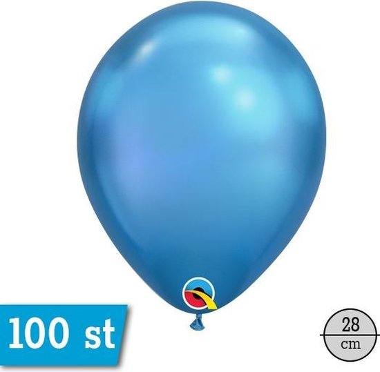 Chrome Ballonnen Blauw 10 stuks