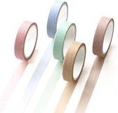 Set van 5 rollen Japanse Washi Tape Macaron | Masking Tape | Leuke Decoratie