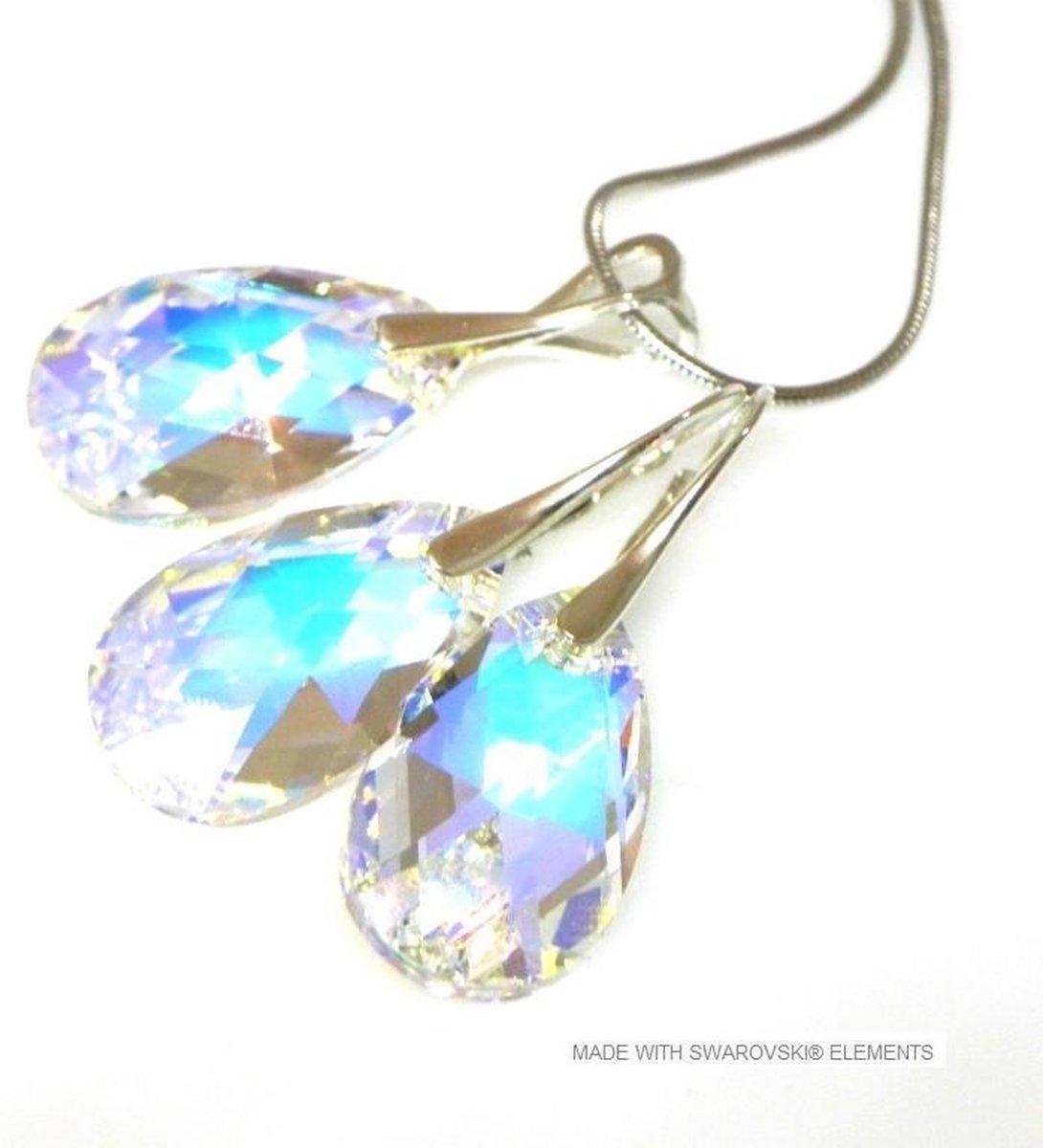 Sieradenset 925 met Swarovski Elements Pear Crystal AB