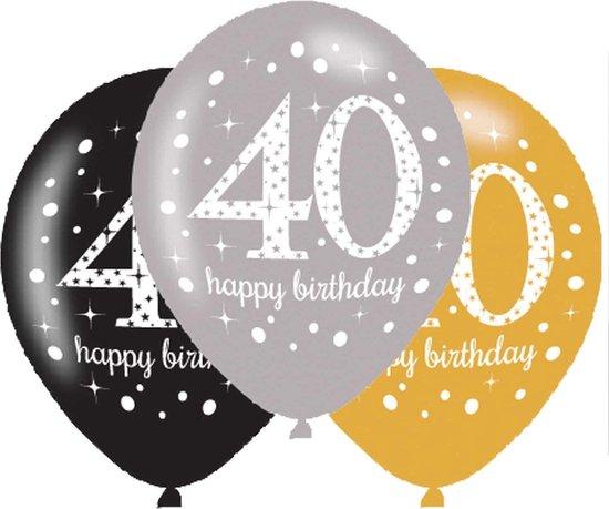Ballonnen 40 Jaar Happy Birthday 27,5cm 6 stuks
