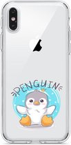 Siliconen hoesje - Apple Iphone X/XS - Transparante backcover - Pinguin