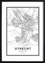 Utrecht Stadskaart Poster (70x100cm) - Wallified - Steden - Poster - Zwart Wit - Print - Amsterdam - Rotterdam - Utrecht - Den-Haag - Wall-Art - Woondecoratie - Kunst - Posters