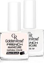 GOLDEN ROSE French manicure nagellak SET 02, 2 x 10,7 ml voor de natuurlijke nagels, gel nagels, acryl nagels. De perfecte french manicure met natuurlijke uitstraling;-)