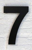 Huisnummer 7 Zwart RVS - Groot 15 cm - Arial RVS vlak XXL - Promessa-Design - Type RVS/15/Zwart/Arial.