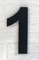 Huisnummer 1 Zwart RVS - Groot 15 cm Arial RVS vlak XXL - Promessa-Design - Type RVS/15/Zwart/Arial.