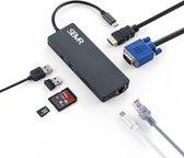 SBVR Premium 8 in 1 multifunctionele USB C - Type-C Hub naar HDMI Adapter 4K + Ethernet Adapter RJ45 1000Mbps + 2x USB 3.0 Poort + VGA poort + USB C PD (power delivery) + Micro SD / SD Kaartlezer - Thunderbolt 3 USB 3.0 Hub