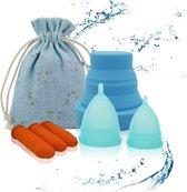 Timmers Trade Menstruatiecup Set - Small/Large - Blauw - Met Sterilisator