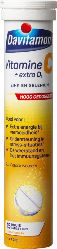 Davitamon Vitamine C forte + D3 - 15 bruistabletten - Voedingssupplement