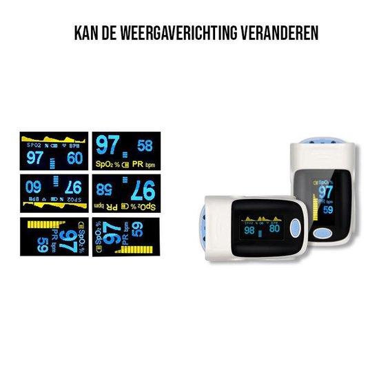 Medicca - Hartslagmeter - Saturatiemeter - Zuurstofmeter - Pulse Oximeter - Vinger zuurstofmeter - Grijs