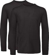 Senvi 2 pack T-Shirt Lange Mouwen Biologisch Katoen - Zwart - XXL