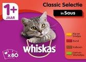 Whiskas 1+ Adult Voordeelpak Maaltijdzakjes - Classic in Saus - Kattenvoer - 80 x 100 g