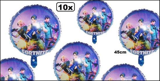 10x Folieballon Fortnite 45cm - ballon feest verjaardag helium game pc spel festival evenement party feest