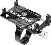 LIFETASTIC® Universele aluminium verstelbare telefoonhouder voor fiets - zwart - Stevig