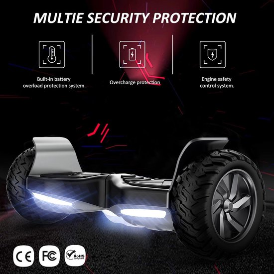 Evercross Challenger Basic 2019 Best 8.5 inch SUV Hoverboard met APP Functie 700W Motion V.12 Bluetooth speakers en met TAOTAO moederbord - Zwart