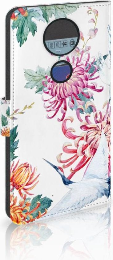 Motorola Moto E5 Plus Wallet Book Case Hoesje Bird Flowers