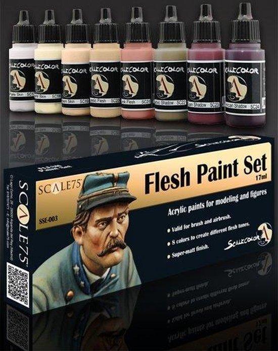 Afbeelding van het spel Flesh Paint Set - 8 kleuren - 17ml - SSE-003