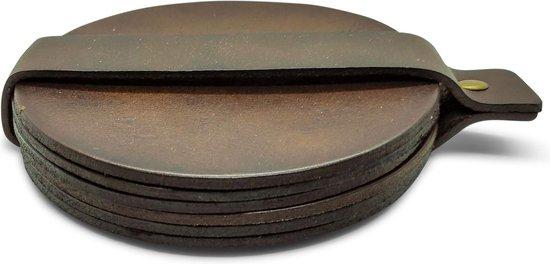 Leren Onderzetters  - Rond - 6 stuks - Bruine onderzetters - Onderzetters van leer - Ronde onderzetters - Onderzetters voor glazen