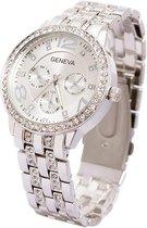 Geneva Dames Horloge - RVS - Zilverkleurig & Kristal - Ø 40 mm