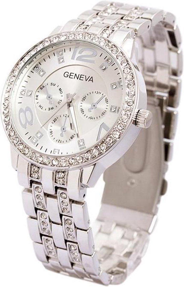 Geneva Dames Horloge - RVS - Zilverkleurig & Kristal -   40 mm