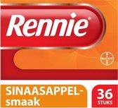 Rennie Sinaasappel kauwtabletten bij brandend maagzuur, 36 stuks